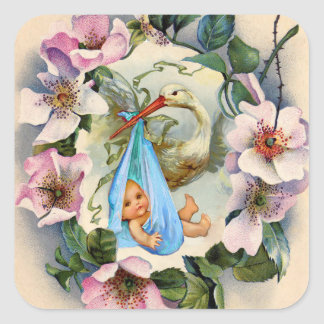 STORK BOY BABY SHOWER CROWN WITH PINK WILD ROSES SQUARE STICKER
