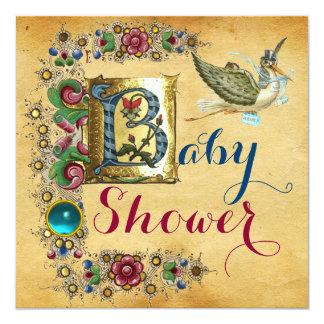 STORK BOY BABY SHOWER FLORAL PARCHMENT MONOGRAM CARD