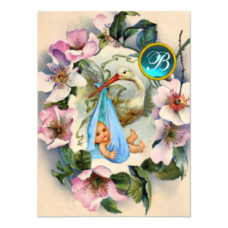 STORK BOY BABY SHOWER ,PINK WILD ROSES MONOGRAM CARD