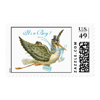 STORK BOY BABY SHOWER POSTAGE