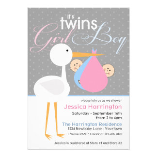 Stork Boy Girl Twin Bundle Baby Shower Invitations