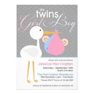Stork Boy/Girl Twin Bundle Baby Shower Invitations