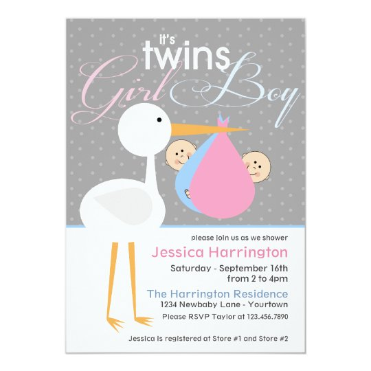Stork Boy/Girl Twin Bundle Baby Shower Invitations
