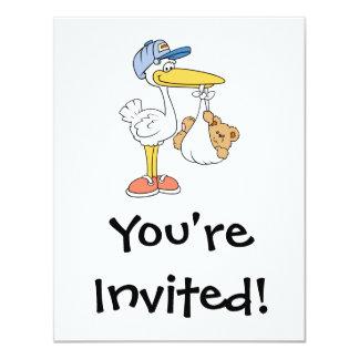 Stork Bringing Baby Bear 4.25x5.5 Paper Invitation Card