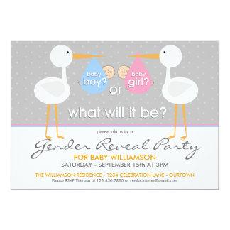 Stork Bundle Gender Reveal Party Invitation Custom Announcement