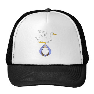 Stork Carrying Baby Blue Trucker Hat