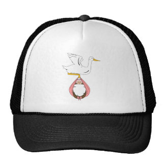 Stork Carrying Baby Pink Hat