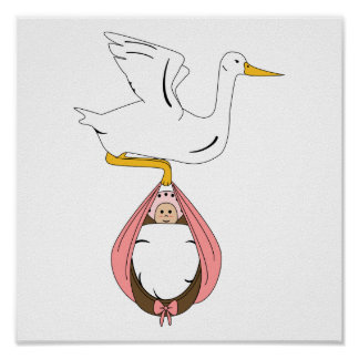 Stork Carrying Baby Pink Poster