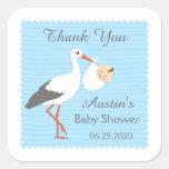 Stork carrying cute baby boy Thank You Sticker