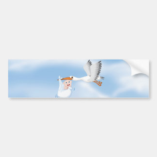 Stork carrying new born Baby Bumper Sticker