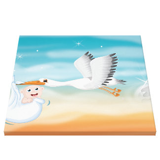 Stork carrying new born Baby Canvas Print