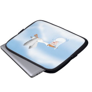 Stork carrying new born Baby Computer Sleeve