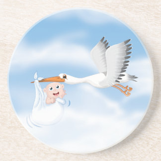 Stork carrying new born baby drink coaster