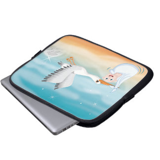 Stork carrying new born Baby Laptop Sleeve