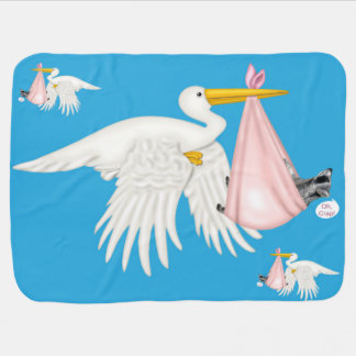 Stork Carrying Raccoon in a Pink Blanket Receiving Blankets