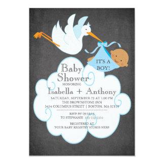 Stork Chalkboard African American Boy Baby Shower Card