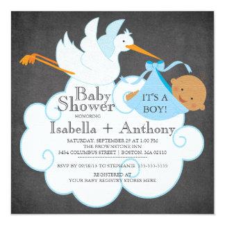"Stork Chalkboard African American Boy Baby Shower 5.25"" Square Invitation Card"