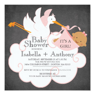 Stork Chalkboard African American Girl Baby Shower Invitation