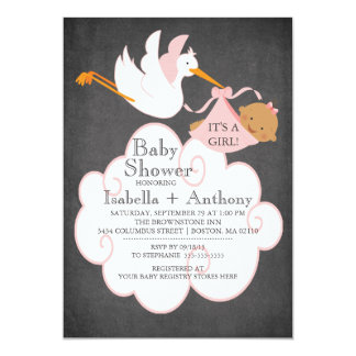 Stork Chalkboard African American GIRL Baby Shower Personalized Invitation