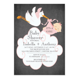 Stork Chalkboard GIRL Baby Shower Invitatation Card