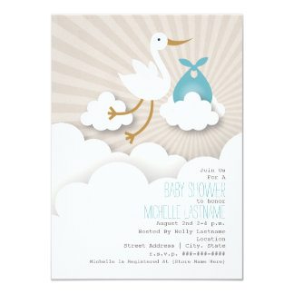 Stork + Clouds Baby Shower - Blue Card