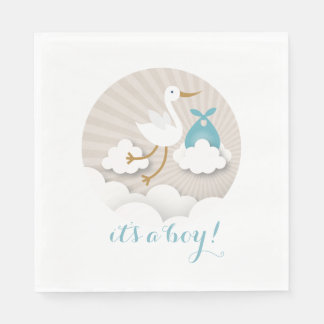 Stork + Clouds Boy Baby Shower Napkins