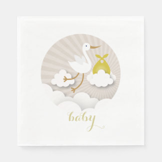 Stork + Clouds Neutral Baby Shower Napkins