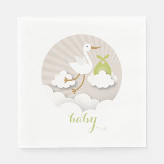 Stork + Clouds Neutral Green Baby Shower Napkins