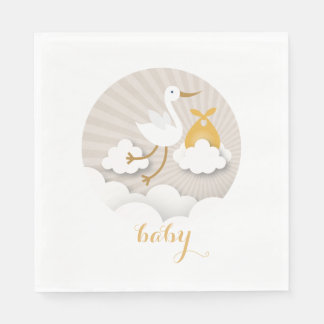 Stork + Clouds Neutral Orange Baby Shower Napkins