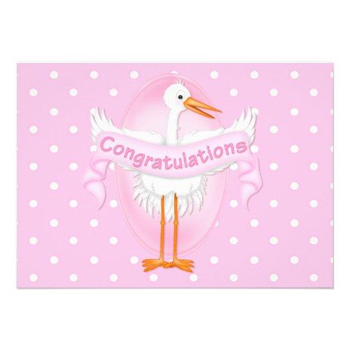 stork congratulations baby shower invitation 5 x 7 invitation car