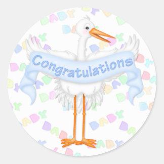 Stork Congratulations Sticker (Blue)