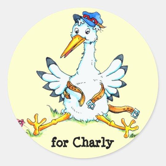 Stork delivered Baby Bundle Creme Sticker