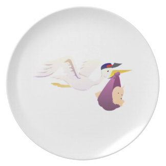 Stork Delivering a Baby Plates