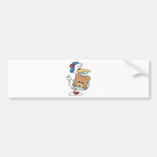 stork delivering baby girl teddy bear bumper sticker