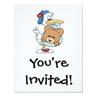 stork delivering baby girl teddy bear invitations