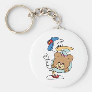stork delivering baby girl teddy bear keychain