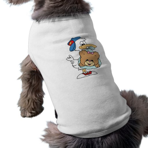 stork delivering baby girl teddy bear pet tee shirt