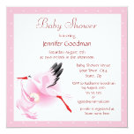 "Stork Delivering Baby Pink Baby Shower 5.25"" Square Invitation Card"