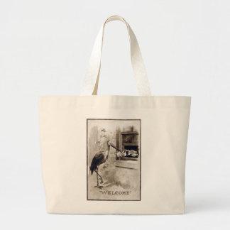 Stork Delivering Baby Vintage Jumbo Tote Bag