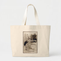 Stork Delivering Baby Vintage Large Tote Bag