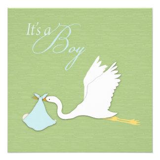Stork Delivers Boy Baby Shower Invitation Square