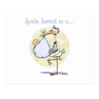 Stork Delivers Boy Postcard