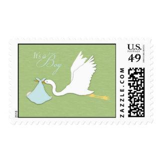 Stork Delivers Boy Stamp
