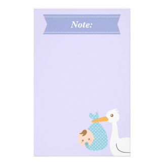 Stork Delivers Cute Baby Boy in Polka Dot Bundle Stationery