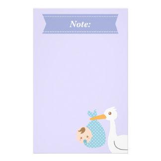 Stork Delivers Cute Baby Boy in Polka Dot Bundle Stationery