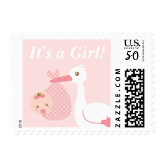 Stork Delivers Cute Baby Girl in Polka Dot Bundle Postage