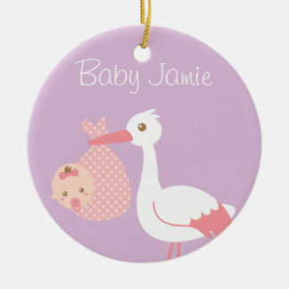 Stork Delivers cute Baby Girl Nursery Room Decor Ceramic Ornament
