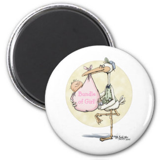 Stork Delivers Girl 2 Inch Round Magnet