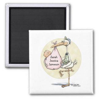 Stork Delivers Girl 2 Inch Square Magnet