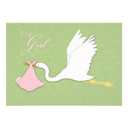 stork delivers girl baby shower invitation zazzle